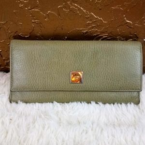 AUTH CELINE PARIS GREEN SOFT LEATHER WALLET EUC